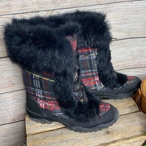 . Coach Jennie Lace Up Snow Boots in Red Plaid with Fur